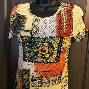 AZI Crazy Eclectic Sheer Top with Beads and Bling